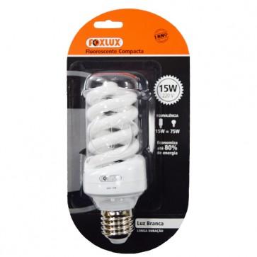 Lâmpada fluorescente compacta luz branca tipo espiral 15W 220V - Foxlux EB15.2