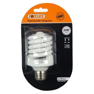 Lâmpada fluorescente compacta luz branca tipo espiral 20W 220V - Foxlux EB20.2