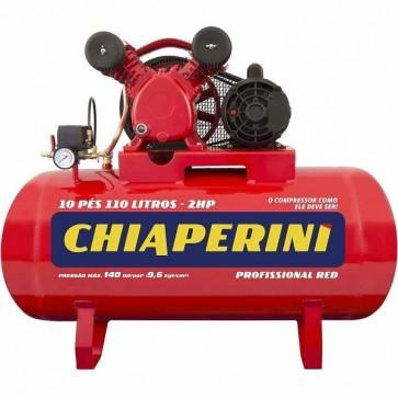 Compressor de ar Média Pressão 10 pcm 110 litros 2CV Monofásico Bivolt - Chiaperini 10/110 RED