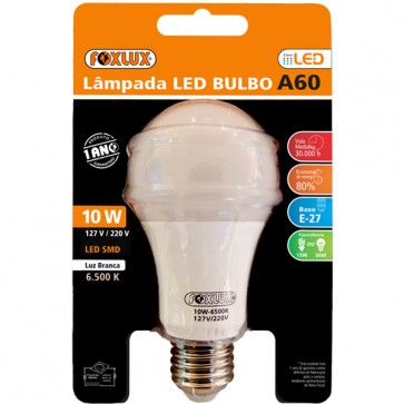 Lâmpada Foxlux LED 10W -A60 BRANCA - Foxlux A60SL.10B