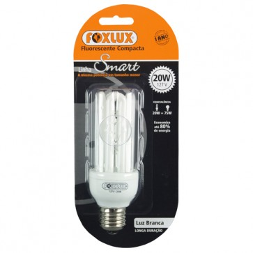 Lâmpada Fluorescente Compacta Luz Branca Tipo U 20W 110V– Foxlux UB20.1