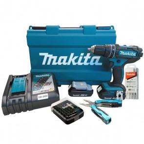 Furadeira Parafusadeira de Impacto 18V com Alicate Multiuso Kit de Brocas e Estojo com Bits - Makita DHP482RAE-P
