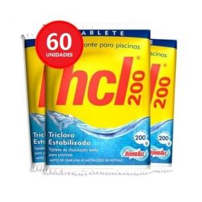 Tablete Desinfetante para Piscinas HCL 200 Hidroall 200g - 60 Unidades
