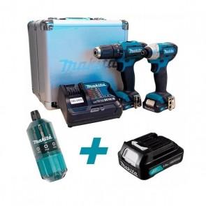 Combo Parafusadeira e Furadeira de Impacto 12V + Bateria 12V 1.5 aH + 1 Kit com 18 Bits - Makita CLX202SAX-P