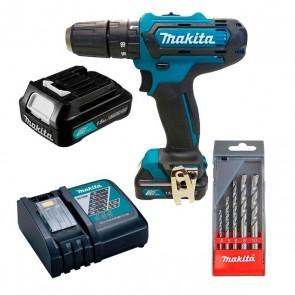 Parafusadeira e Furadeira de Impacto a Bateria 12 Volts com Carregador + 1 Bateria 1,5 aH + 1 Kit com 5 Brocas MAKITA - HP331DWY-P