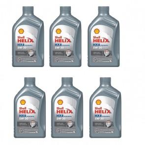 Oleo Motor Shell Helix HX8 5W30 SN Sintetico 1 Litro - 6 Unidades