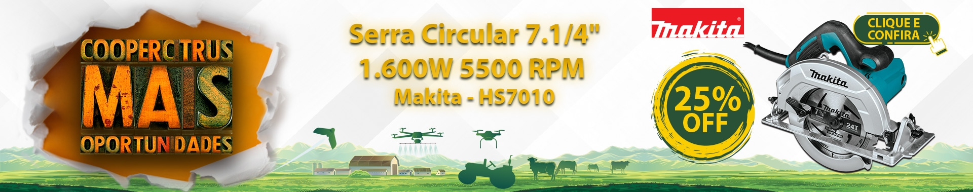 "Coopercitrus Mais Oportunidades! Serra Circular 7.1/4"" 1.600W 5500 RPM - Makita HS7010 com 25% OFF!"