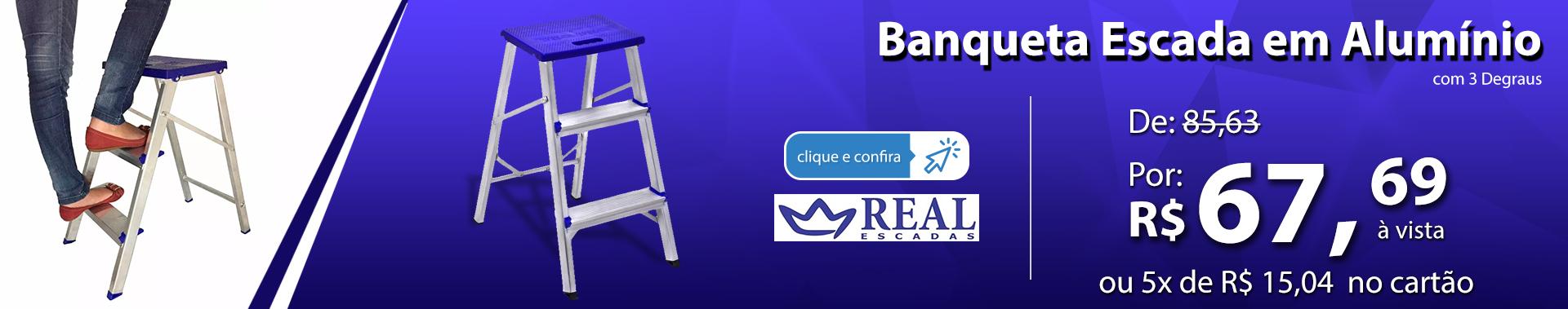 Banqueta Escada em Alumínio com 3 Degraus - Real Escadas