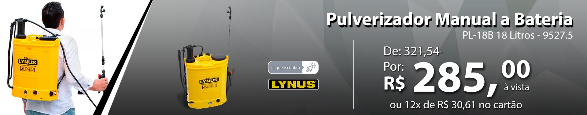Pulverizador Manual a Bateria PL-18B 18 Litros LYNUS-9527.5