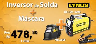 Inversora de Solda Portátil Lynus LIS-130 220V + Máscara de Solda com Escurecimento Automático LYNUS-MSL350F