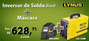 Inversora de Solda MMA IGBT Bivolt LIS-160B Lynus + Máscara de Solda Automático com Regulagem de 9 a 13 DIN LYNUS-MSL500S.